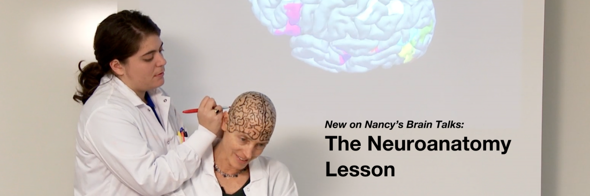 Nancy gives a brain lecture on neuroanatomy and shaves her hair to get a clean slate to draw anatomically correct brain regions.